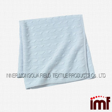 Factory Direct Cable Knit Pure Cashmere Super Soft Blanket Baby Blue
