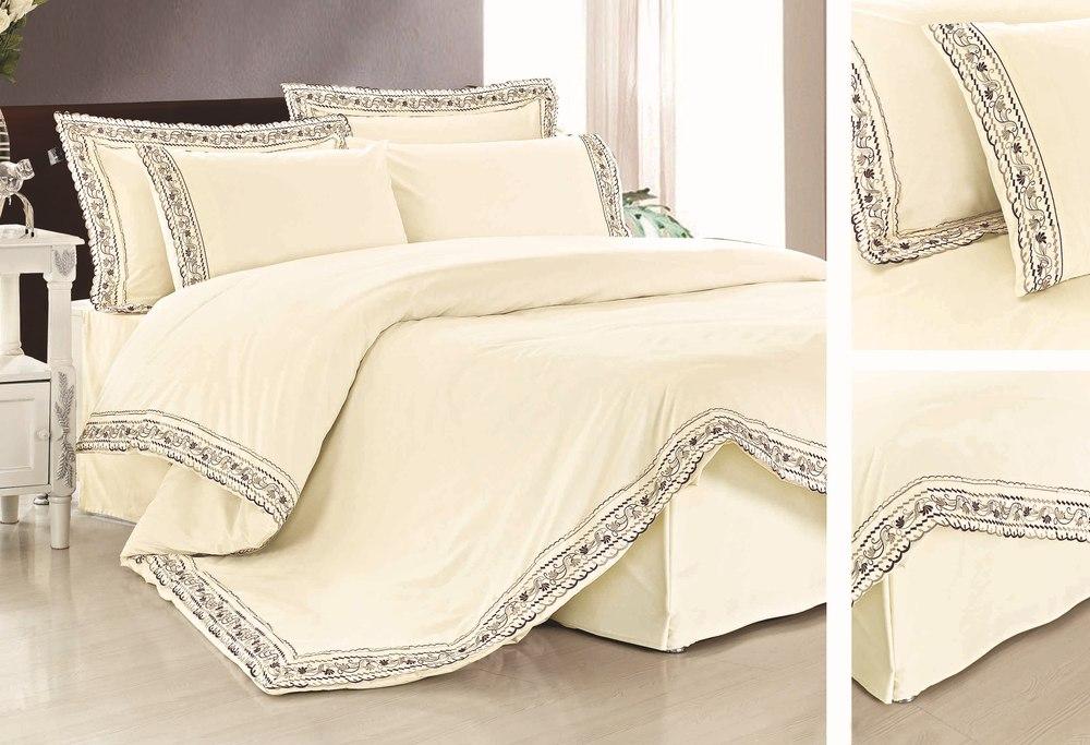 Kosmos textile de maison 2014new 100 housse en coton brod de couette ensembles point de croix - Drap couette fermeture eclair ...