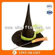 Lana sombrero de fieltro con escoba de bruja, locos sombreros para niños, sombrero mayor de china