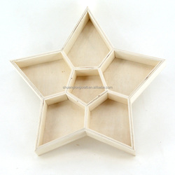 Shuanglong five star shaped wooden storage tray for service, small wood food tray