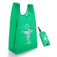 Cheap snap pouch design 190T nylon foldable shopping bag