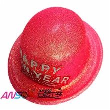 Neon glitter plastic top round hat with happy new year glitter card