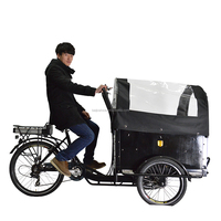 CE Danish bakfiets family 3 wheel cargo electric rickshaw bikes with cabin box