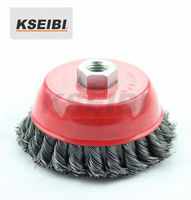 circular knot copper wire brush twisted cup wire brush - KSEIBI