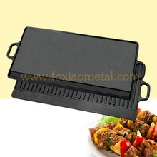 black pre seasoned/oil plant/ vegetabel oil square outdoor bbq cast iron grill/ griddle