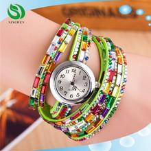 Fashion Colorful Women Diamond Wristwatches Quartz Casual Female Bracelets Vintage Woman Watches