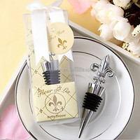 50pcs Chrome Fleur de Lis Wine Bottle Stopper wedding favors guest gifts DHL Freeshipping