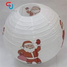 Paper Lantern With Bulb For Christmas Decoration Supplies