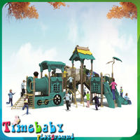 Wonderful design for kids outdoor game set, garden plastic slide with roof