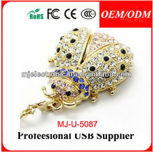 Lovely Crystal Bee Usb Pen Drive For Gift, Diamond Honeybee Memory Stick, Necklace Animal Pendrive