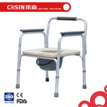Aluminum lightweight commode chair with PU seat, 3 in 1 bedside commode