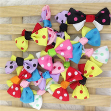 1inch mini polka dot ribbon hair bows for girl hair accessories baby bows WITHOUT Clip for chirldren