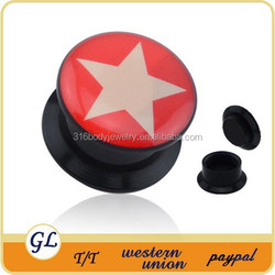 T03025 acrylic red background with white pentagram ear plug tunnel
