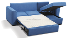 Hotel Used Blue Fabric Sectional With Chaise Lounge Cheap Sofa Bed
