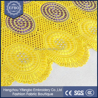 Hot sale Nigerian girls dresses 2015 new arrival yellow 51-52 inches UK Swiss cotton voile lace with stones for children dress