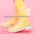 Claro pvc superior/de plástico jalea de zapatos para la lluvia, de encaje hasta las botas de lluvia