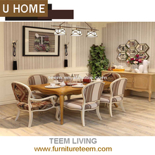 U-Home french style dinging room furniture dining room chairs with wheels set 6