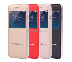 Best Selling Touch Metal Front Smart Window View PU Leather Folio Flip Case with Stand for iPhone 6