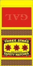 Three Star Safety Matches (Regular Size)