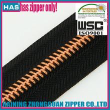 HAS zipper copper zipper metal brass zip fancy zipper roll black for luggage/bags