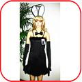 Sexy simples vestido longo traje coelhinho traje infantil roupa preta pgfc- 2943