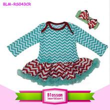 New wholesale Baby Xmas Aqua Green Red Chevron Bodysuit Tutu Party Dress Romper Pettiskirt0-24m