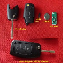 TD auto remote key ,3 button remote control unit 433mhz 4D60 chip with trunk button for F-rd