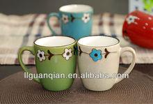 handpaint ceramic mug cup, color glazed ceramic mug cup for sale