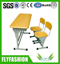 School wood double table bench/student double table and chair sets