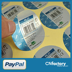 pvc paper adhesive sticker with barcode