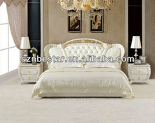 2013 king size white color luxury princess leather soft bed