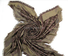 2014 Western Famous Popular Cannetille Real Silk Large Square Wool Scarf