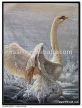 Remarkable hand painted swan oil painting