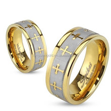 Wholesale Stainless Steel Celtic Cross Gold IP Ring with Brushed Center Two Tone Ring