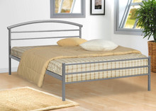 2015 Home bedroom furniture bed design double metal bed with wood slats