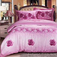 Silk jacquard bed sheets made in China patchwork bedding set quilts bedspreads prices