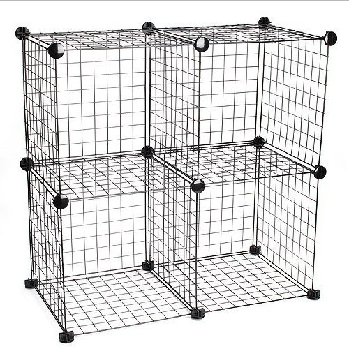 Metal mesh cube storage organizer with wire frame and pp panel mix assemble f - Cube metal rangement ...