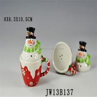 Ceramic Christmas Santa Head Decorative christmas salt and pepper set, santa claus shape salt and pepper set