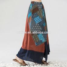 jiqiuguer estiloindio cuadros deimpresión elástico de la cintura minorías étnicas falda larga