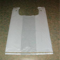 80% new material shopping uesd plastic t-shirt white plain bag popular in Africa
