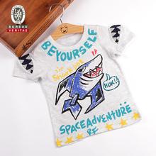 Ropa infantil verano 2012 del patrón del tiburón de polo de algodón orgánico embroma la camiseta