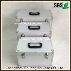 Three-piece ABS aluminum welding box aluminum instrument case with small silver dot fabric