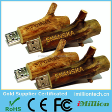 Hot Sale Free Sample twig wooden usb flash drive for Promotional Gift
