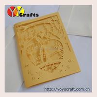 Laser cut popular pocket wedding invitation cards to print the inner paper and envelopes