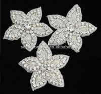 high quality iron on rhinestone bead flower applique patch R6006