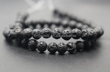 Black Lava, Matte Round Beads, Natural Gemstone 8mm
