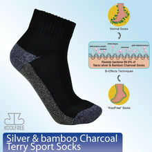 (62080) Silver & Bamboo Charcoal Terry Sport Ankle Socks