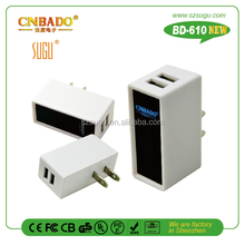 2015 New perfect 3.1A double usb wall charger with led lighten your logo for mobile phone,tablet pc, laptop....