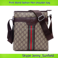 men leisure bag Fashion print pattern leather shoulder bag men