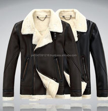New Mens Military Sheep skin moto leather collar lining fleece suede jacket coat